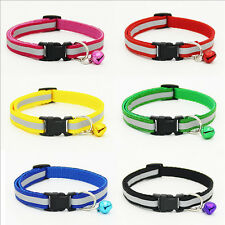 Pet Dog Puppy Cat Fabric Reflective Collar Safety Buckle Bell Adjustable Cool*