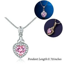 Promise Love Heart Cut Pink Topaz Crystal Pendant Chain Necklace Wedding Jewelry