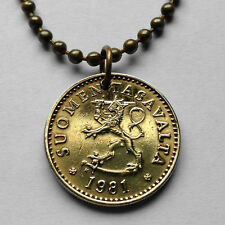 Finland 10 Pennia coin pendant Finnish LION necklace Helsinki Suomi n000079
