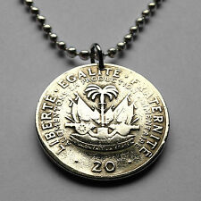 Haiti 20 centimes coin pendant Haitian necklace cannons Port-au-Prince n001445