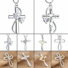 2018 Handmade Crystal Cross Women Men Unisex Necklace Pendant Chain Jewelry Gift