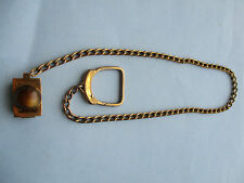 NICE VINTAGE GOLD TONE SWANK WATCH FOB CHAIN WITH BELT LOOP CLIP & AMBER STONE