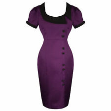 Purple Kitsch Pinup Rockabilly Vintage 50s Style Fitted Pencil Dress UK