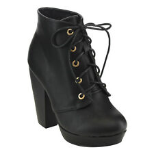 Top Moda EC94 Women's Platform Lace Up High Chunky Stack Heel Dress Ankle Bootie