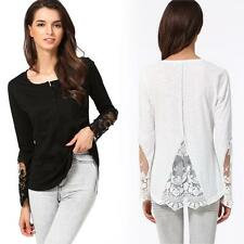 Women V-Neck Long Sleeve Lady Lace Shirt Top Blouse Slim T Shirt S-XXL Sexy A8E7