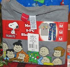 PEANUTS CHARLIE BROWN LUCY SNOOPY CHRISTMAS  MEN'S 2 PC SLEEP SET SIZE MEDIUM