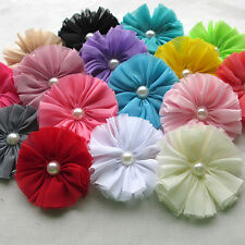 8PCS Big Fabric Ribbon Bows Flowers w/Beads Appliques Wedding Craft 77mm A0419