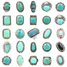 1Pcs Hot Selling Women Retro Craft Tibet Silver Pld Turquoise Adjustable Rings