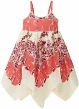 NEW Mimi & Maggie Girls Coral Rose & Cream Floral Summer Vacation Dress 4 6X