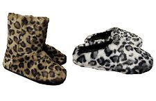 Ladies Leopard Print Furry Boot or Mule Slippers ~ Brown or White
