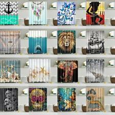 Fabric Waterproof Shower Curtain with 12 Ring Hooks Bathroom Drapes Panel PICK