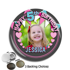 Personalised Girls Bunting & Hearts Happy Birthday PHOTO Badge N70 ANY AGE