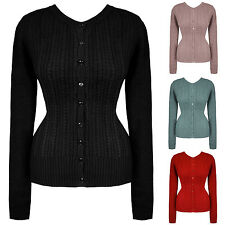 Womens Sexy Vintage 1940s 1950s Warm Cable Knit Retro Cardigan Top UK