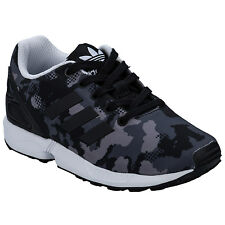 ChildrenBoys adidas Originals Zx Flux Trainers Charcoal-LaceFastening-Camoflauge