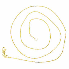 Luxurman Solid 14k White or Yellow Gold Classic Box Chain 0.7mm Wide Necklace wi