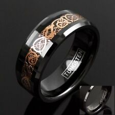 8mm Engraved Tungsten Rose Gold Celtic Dragon Stripe Band Ring Men's Jewelry