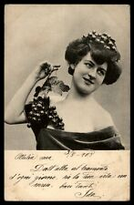 Antique pretty lady 1900s Switzerland postcard grapes