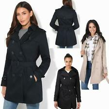 Womens Ladies Stylish Retro Tailored Trench Mac Coat Double Breasted Jacket 8-18