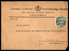 Czechoslovakia Brunn to Wien Austria 1919 20 H Single Franked Cover