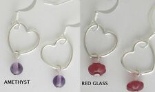 Floating Heart Earrings 0.925 Sterling Silver With Amethyst or Red Glass