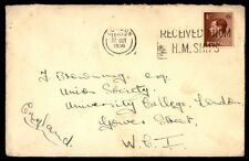 1936 London UK HM ships cancel cover to England single franked