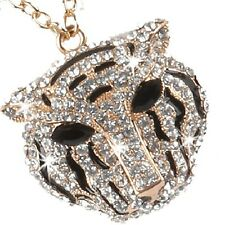 Pave Set Black White Gold Cz Crystal TIGER Long Chain Pendant Animal Necklace
