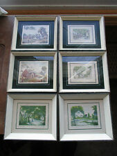 LOT OF 6 ANTIQUE VINTAGE WOOD PICTURE FRAMES SMALL SHADOWBOX FRAMES WITH PRINTS
