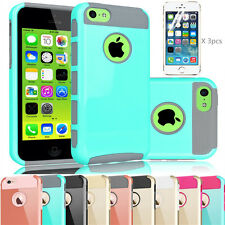 Heavy Duty Hybrid Rugged Hard Case Cover Screen Protector For iPhone 5C Case New