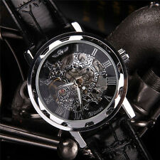 Hot Classic Men's Black Leather Dial Skeleton Mechanical Sport Army Wrist Watch