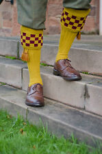 BOWMORE WOOL SOCKS MUSTARD WITH GARTERS NEW  SIZES MED LARGE SHOOTING FISHING