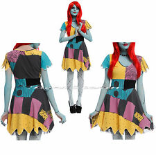 Disney The Nightmare Before Christmas Sally Rag Doll Cosplay Costume Dress TULLE