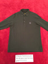 PRETTY GREEN LONG SLEEVED POLO SHIRT-DARK GREEN-MEDIUM
