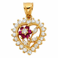 14k Yellow Gold Cubic Zirconia Floral Heart Pendant and  Yellow Gold Flat wheat