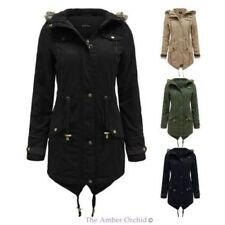 BRAVE SOUL WOMENS LADIES FUR OVERSIZED HOOD FISHTAIL JACKET MILITARY PARKA COAT