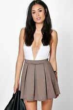 Boohoo Womens Sophie Solid Colour Box Pleat Skater Skirt
