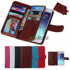 Magnetic Leather Wallet Case Flip Cover Credit Card Holder Removable For iPhone