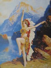 """Indian Maiden in Feather Headdress R Atkinson Fox """"DAUGHTER OF THE SETTING SUN"""""""