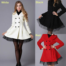 Fashion Women's Wool Blend Double Breasted Trench Dress Jackets Warm Coats Slim