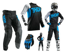Thor Pulse Active Motocross Combo with Cross pants Jersey Gloves blue black