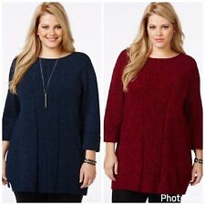 Style&co Tunic Sweater Cuffed Sleeve Marled Red Blue Plus 1X 2X 3X NWT P2