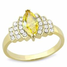 10x5mm Marquise Cut Yellow CZ Center Gold IP Stainless Steel Womens Ring SZ 5-10