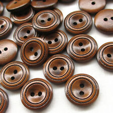100/500pcs 18mm Brown Wood Wooden Button 2 Holes Craft Clothe Sewing Decor