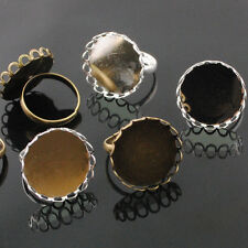 10/50pcs Silver & Anti-brass Adjustable Rings Inner Cameo Setting Size 21mm