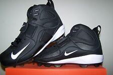 Men's NEW Nike Air Zoom Boss Shark Mid Black Football Cleats with White Trim