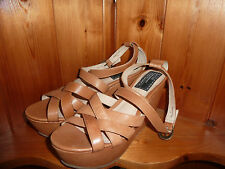 Gorgeous Bertie Tan Leather Platform Wedge Heel Ankle Strap Sandals EUR 38 BN