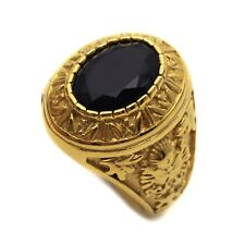 Stainless Steel Black Round Onyx Golden Mens Ring Size 8 9 10 11 R412