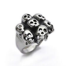 Stainless Steel Silver Colour Skull Cool Mens Ring Size  8 9 10 11 R495