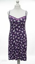 Ex M&S Luxe Stretchy Purple Floral Satin & Lace Trim Chemise Nightie 12