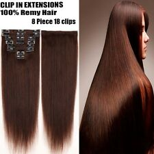 100% Real Remy Human Hair Extensions Clip In Full Head Silky Straight 16-22YU250