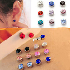 12 Pairs Non Piercing Clip on Crystal Magnetic Magnet Ear Stud Unisex Earrings